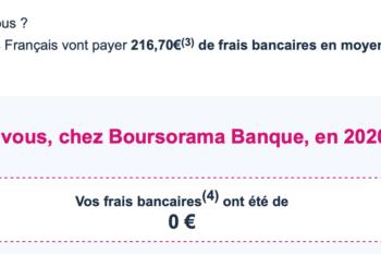 Boursorama : 0€ de frais bancaires en 2020 et les dépenses remboursées